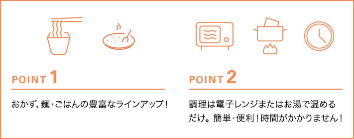 POINT1 おかず、スープ、麺・ごはんの豊富なラインアップ! POINT2 調理は電子レンジまたはお湯で温めるだけ。簡単・便利!時間がかかりません!